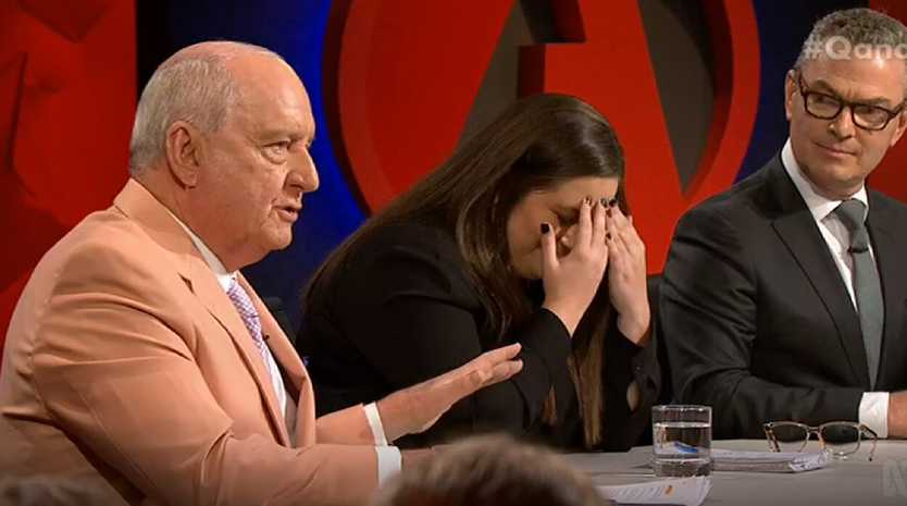 """""""Oh, my God,"""" Alice Workman said as Alan Jones was asked about climate change, with Christopher Pyne looking on."""