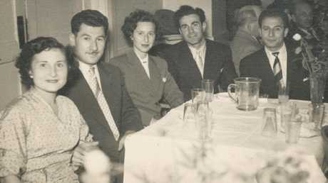 Eddie and his wife Flore Jaku (left) at a dinner dance with friends at the Maccabean Hall, August 1950. Picture: Sydney Jewish Museum collection.