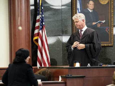 State Judge Eugene Griffith pauses the trial as Tim Jones' ex-wife Amber Kyzer breaks down while testifying. Picture: AP