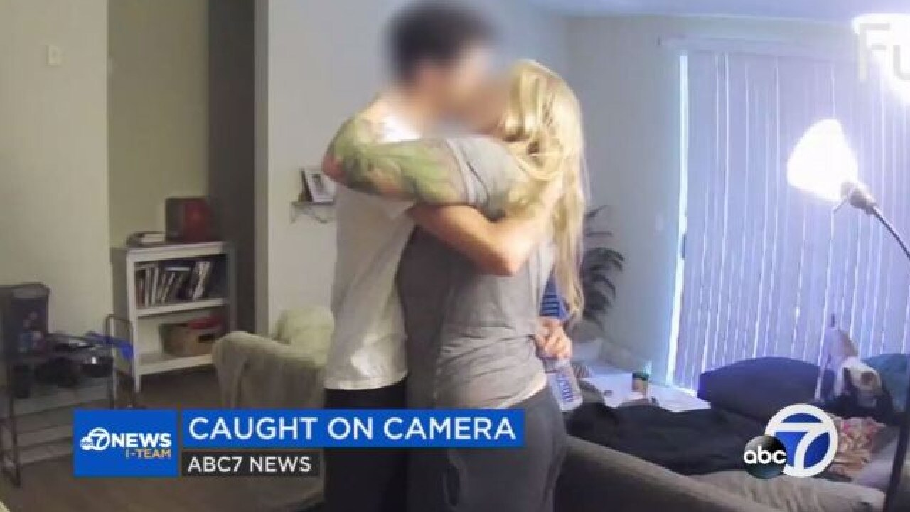 Footage shows Brengle and her boyfriend kissing in the living room. Picture: ABC7 News