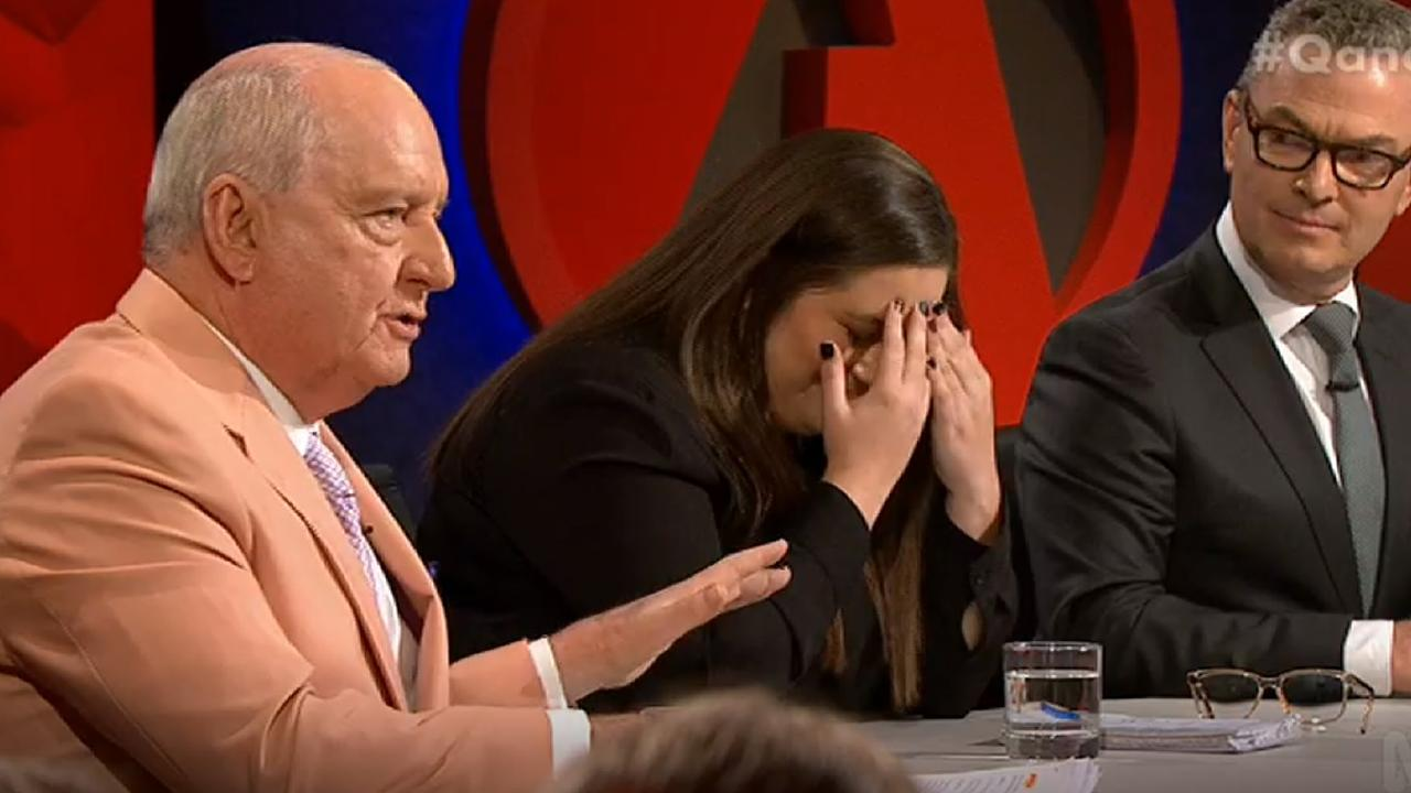 """Oh, my God,"" Alice Workman said as Alan Jones was asked about climate change, with Christopher Pyne looking on."