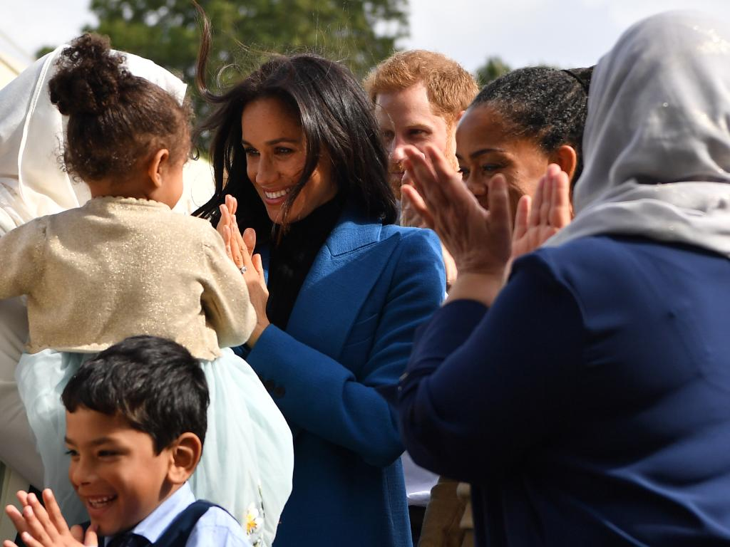 Meghan at the launch of a cookbook with recipes from a group of women affected by the Grenfell Tower fire. Picture: Ben Stansall/WPA Pool/Getty
