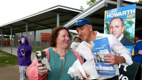 Election Day in the seat of Petrie. Federal LNP member Luke Howarth at Mango Hill State school polling booth, on May 18. Picture: AAP/David Clark