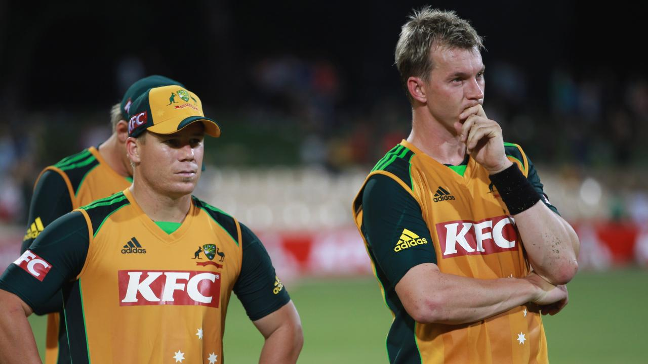 Lee, right, believes Warner, left, will be named player of the tournament at the 2019 World Cup. Picture: Getty Images