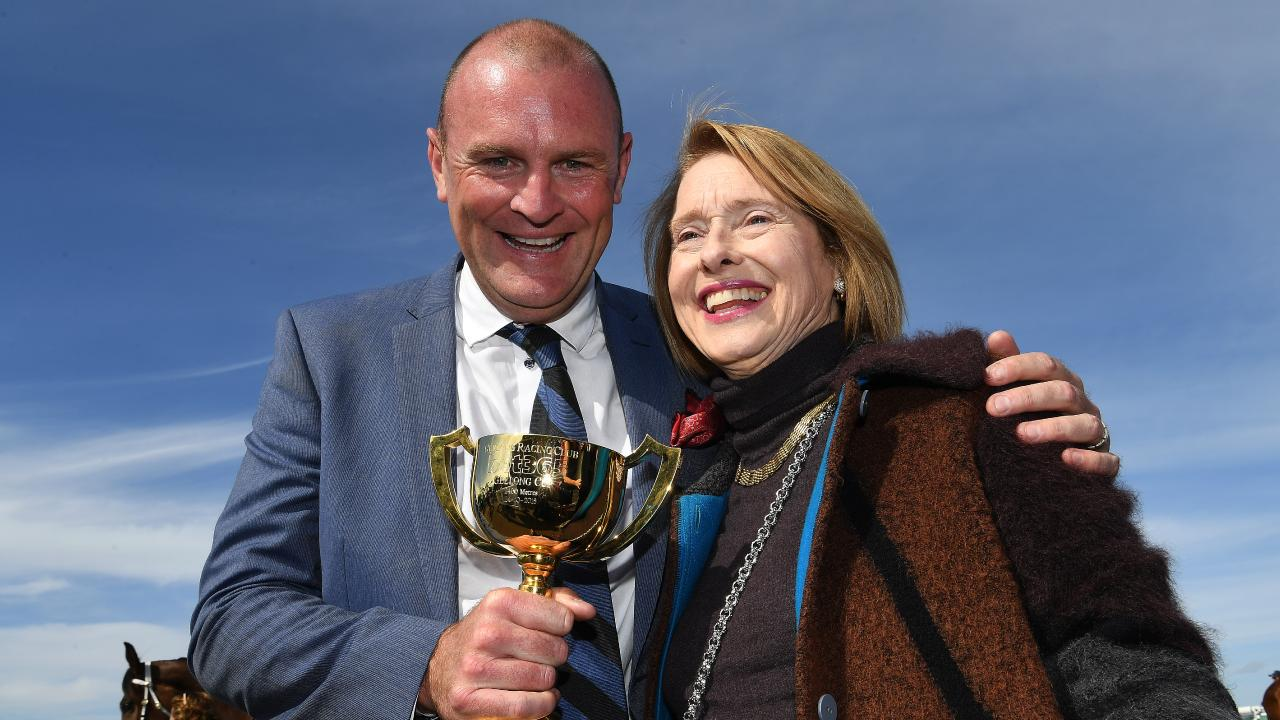 Runaway owner Anthony Mithen and Gai Waterhouse after their Geelong Cup win. Picture: AAP