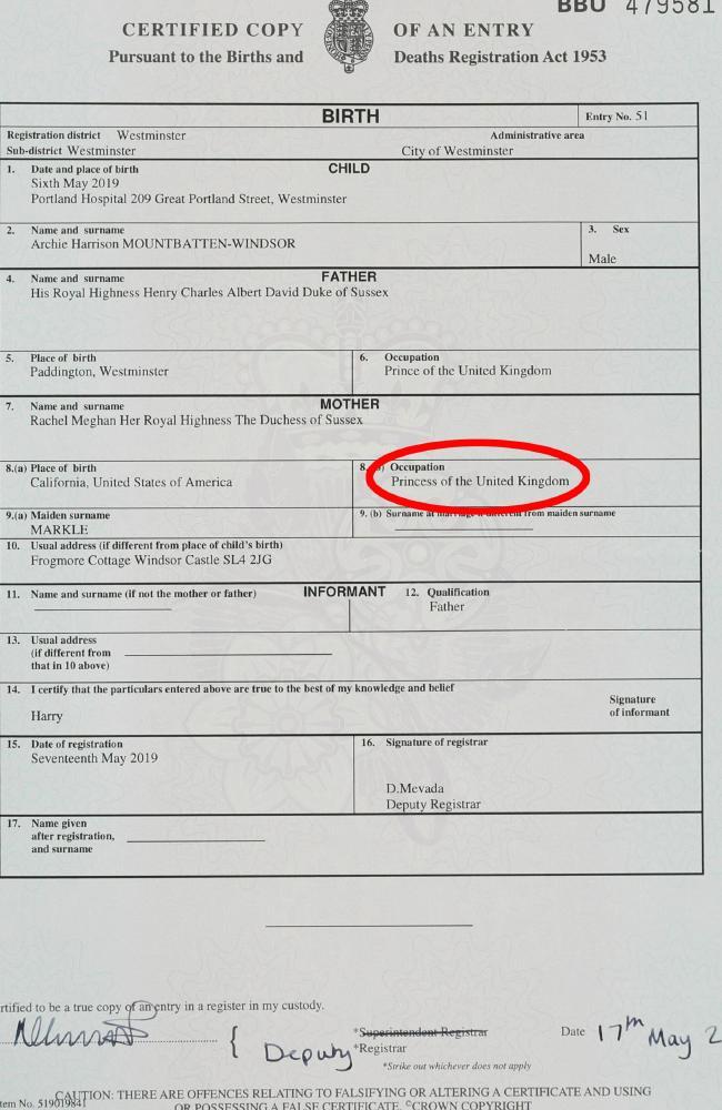 The birth certificate of Archie Harrison Mountbatten-Windsor revealed a lot. Picture: Jonathan Brady/PA via AP