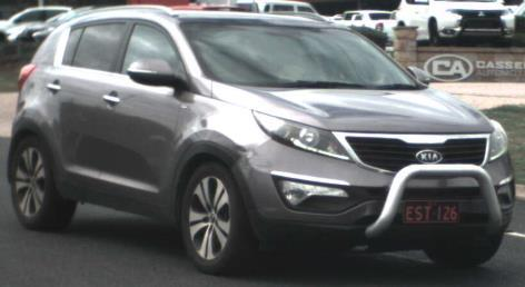 Silver Kia Sportage hatchback, with registration EST126, was reported stolen from a Hoey St residence in Kearneys Spring between 6.30am on May 13, and 6am on May 20.