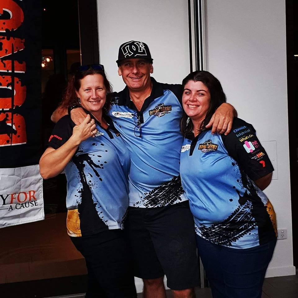 Long-time friends and 44 Derbydore Dunga Derby team mates Simone and Darryl Goodall and Bec McLeod, have been raising funds for Fraser Coast residents with life-limiting medical conditions through their involvement with the Rally for a Cause charity.