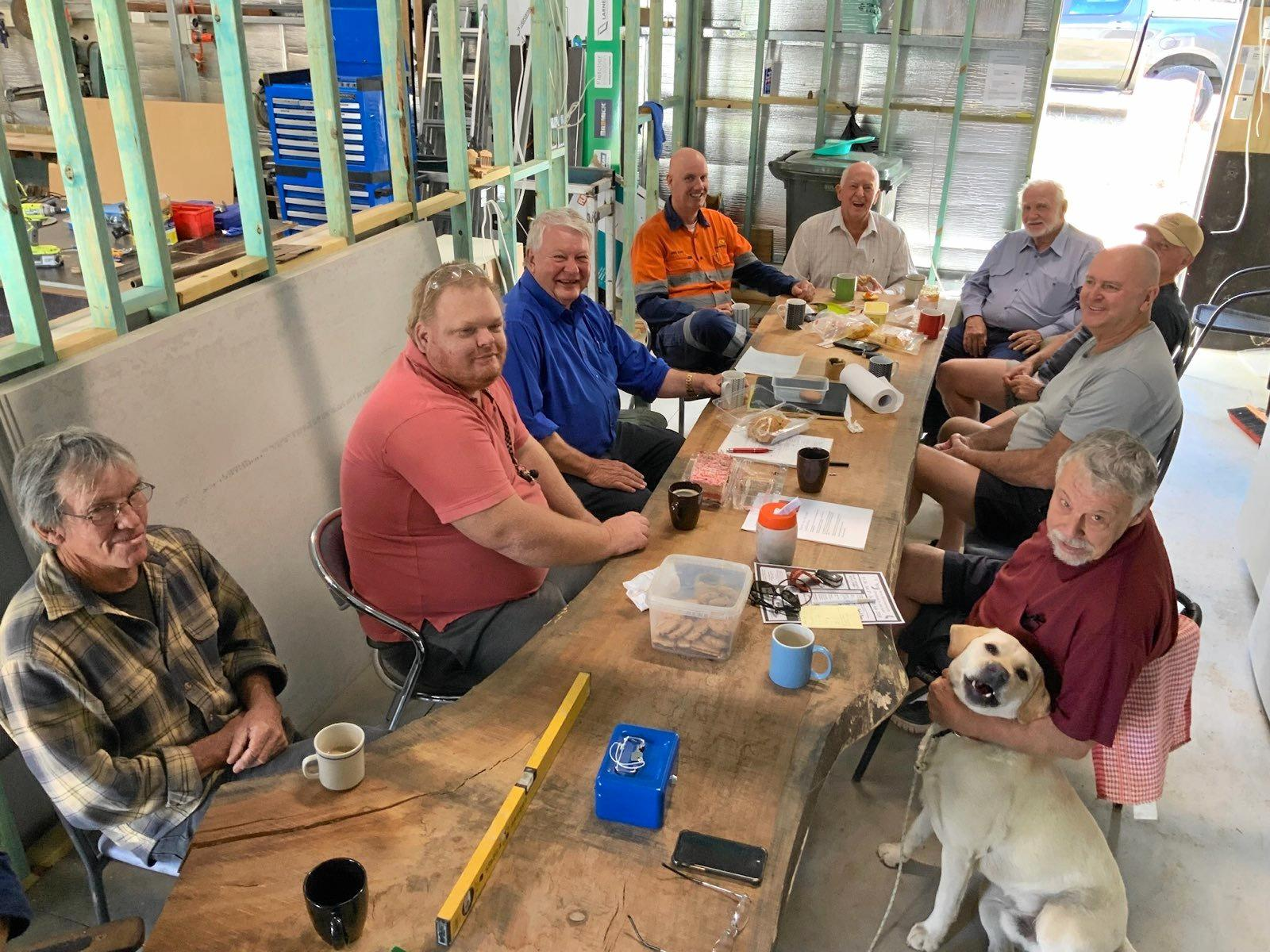 Member for Flynn Ken O'Dowd with members of the Mount Perry Men's Shed during the election campaign.