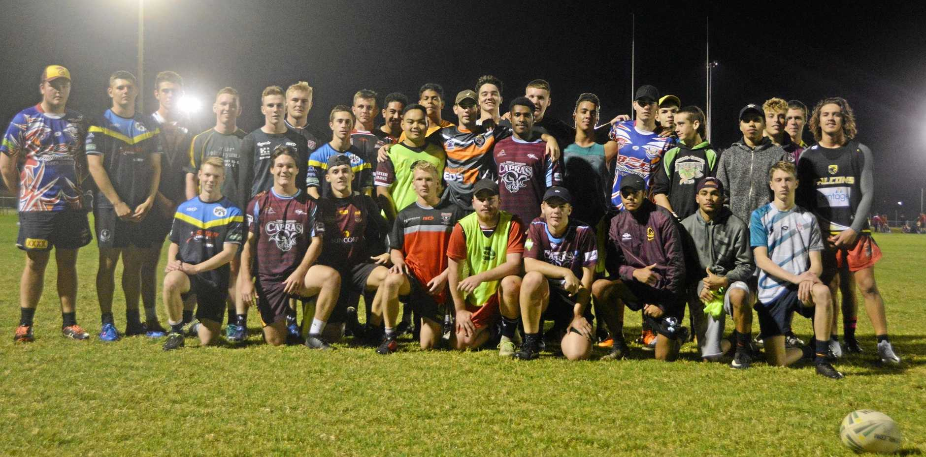 UP FOR THE CHALLENGE: The U18 Wide Bay Schoolboys take on the South Burnett U18s to prepare for the state championships.