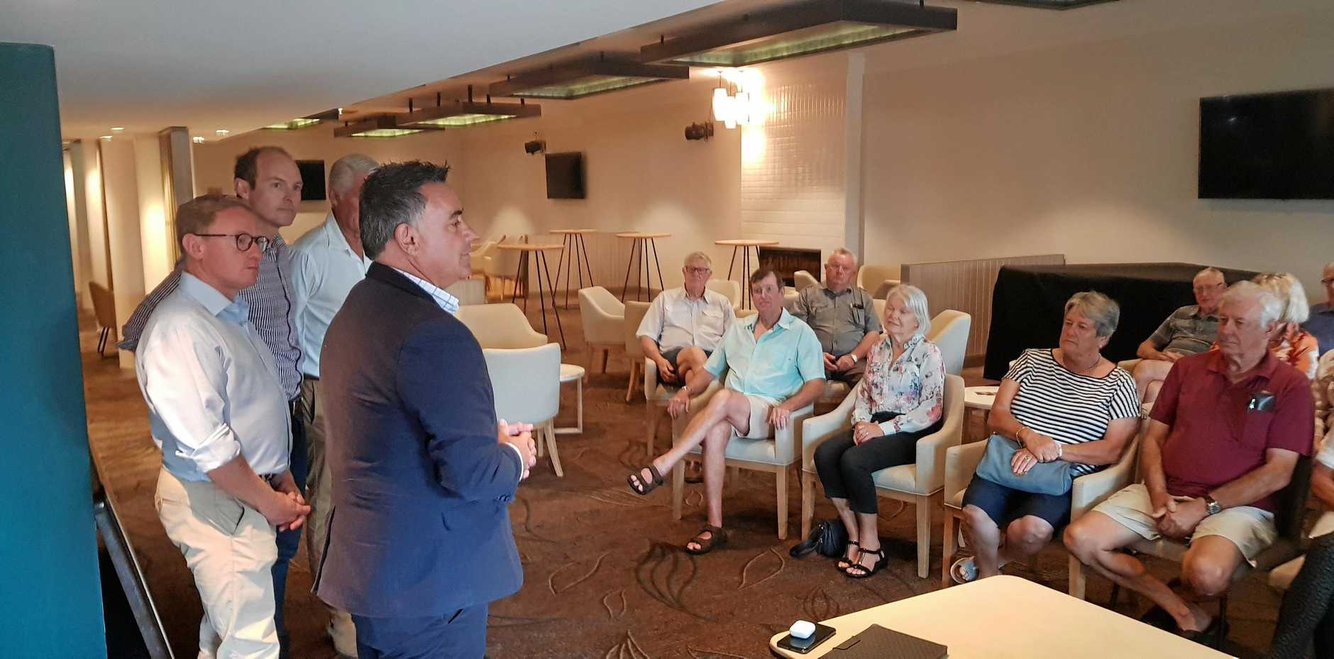 TRAVEL CARD: Deputy Premier John Barilaro (right) announcing the promise of a Regional Seniors Travel Card at the Ballina RSL Club prior to the state election.