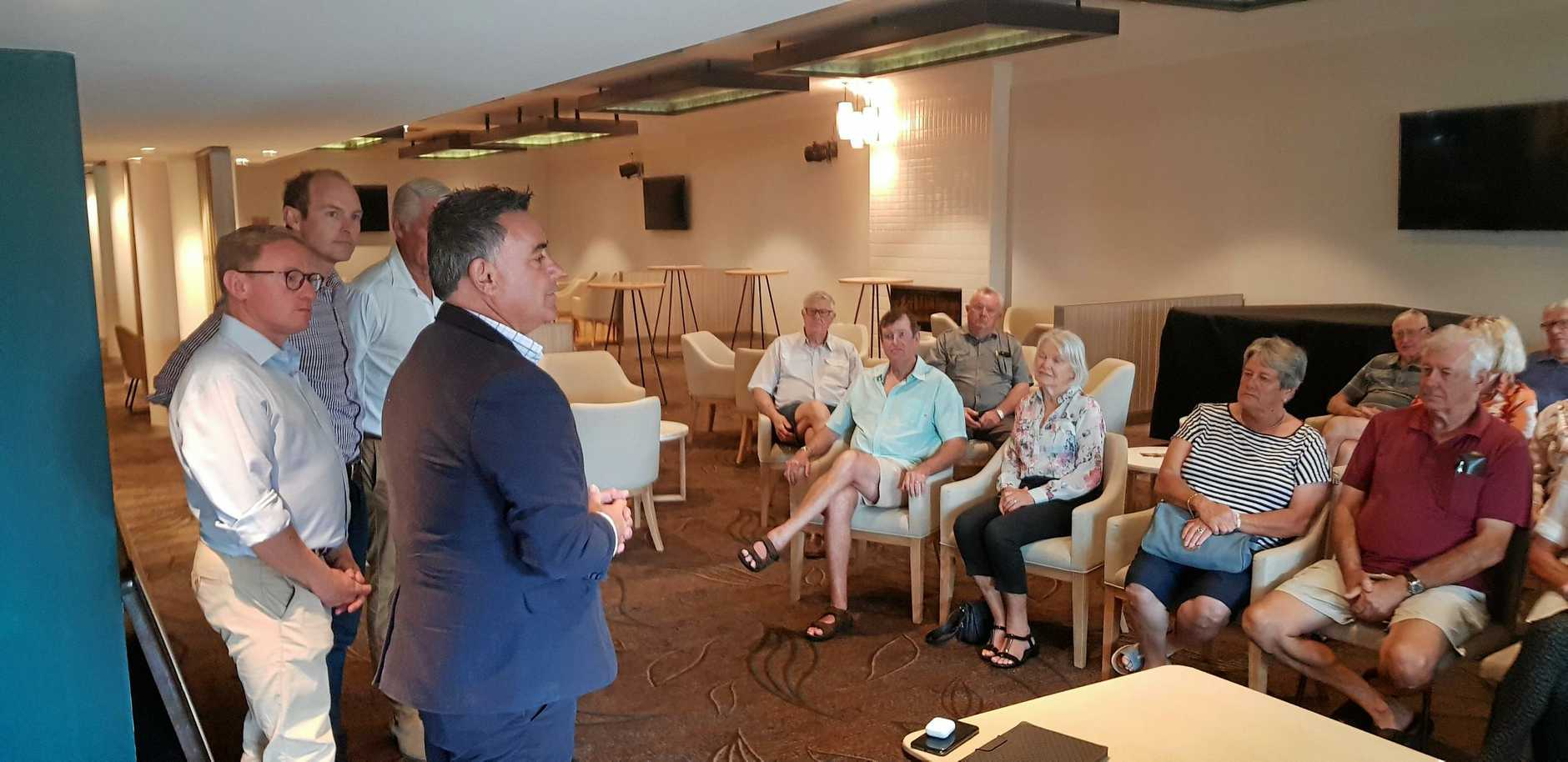 TRAVEL CARD: Deputy Premier John Barilaro (right) announcing the promise of a Regional Seniors Travel Card at the Ballina RSL Club on Friday with (from left) Nationals'  Ben Franklin, Austin Curtin and Geoff Provest.