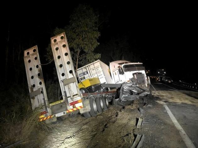 CRASH: A truck driver was injured in a crash along the Bruce Highway at Kolonga last night, that caused significant delays to traffic.