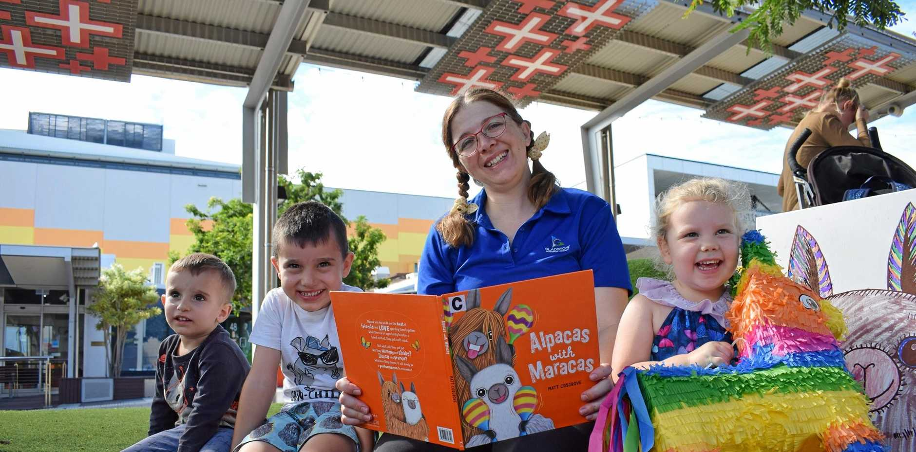 GET BOOKED: Darcy Galea, Louis Galea, Sarah Johnstone and Layla Dau reading Alpacas with Maracas at National Storytelling Day at Gladstone Library Square.