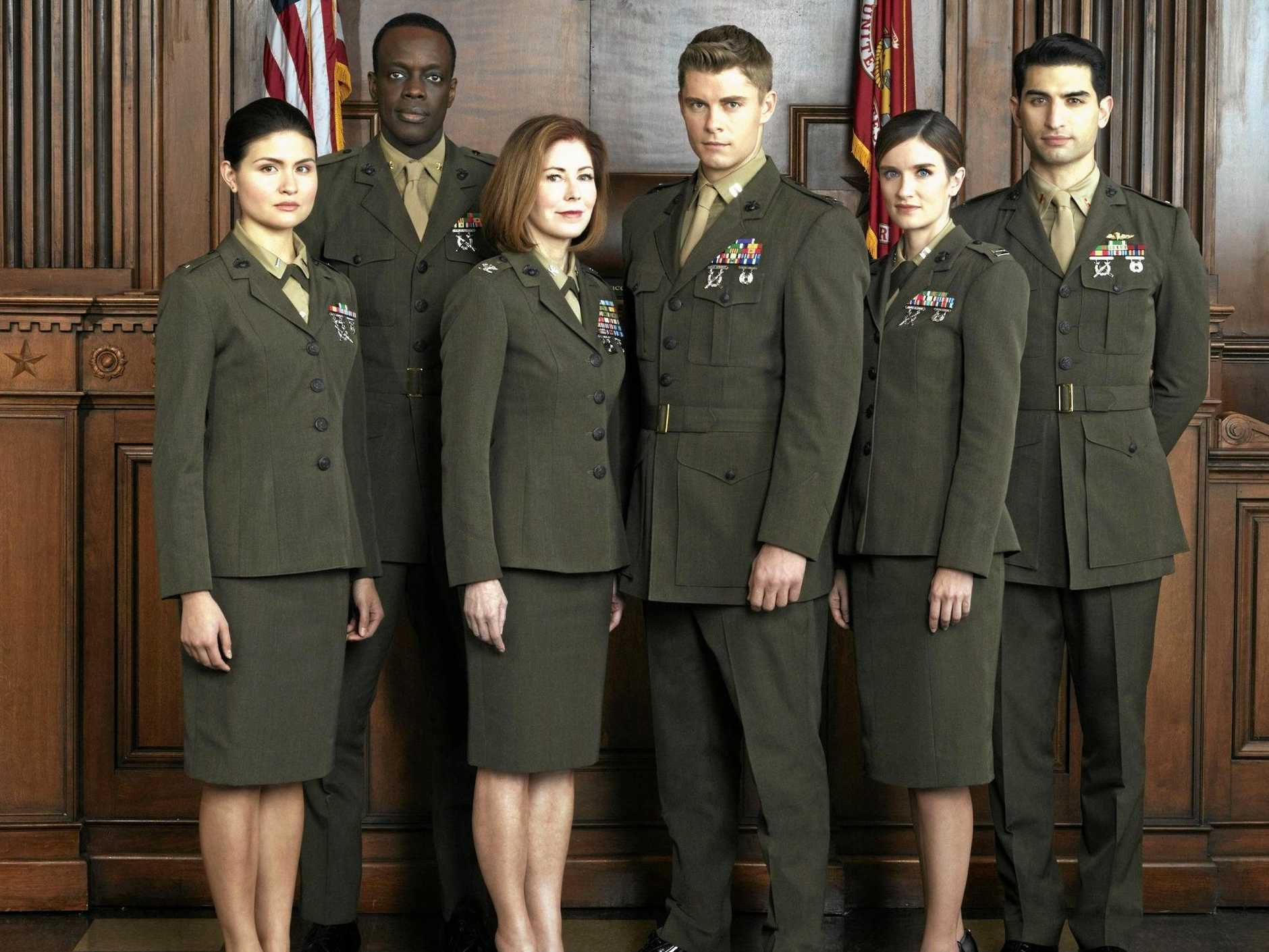 From left, Phillipa Soo, Ato Essandoh, Dana Delany, Luke Mitchell , Anna Wood and Raffi Barsoumian star in the TV series The Code. Supplied by Channel 10.