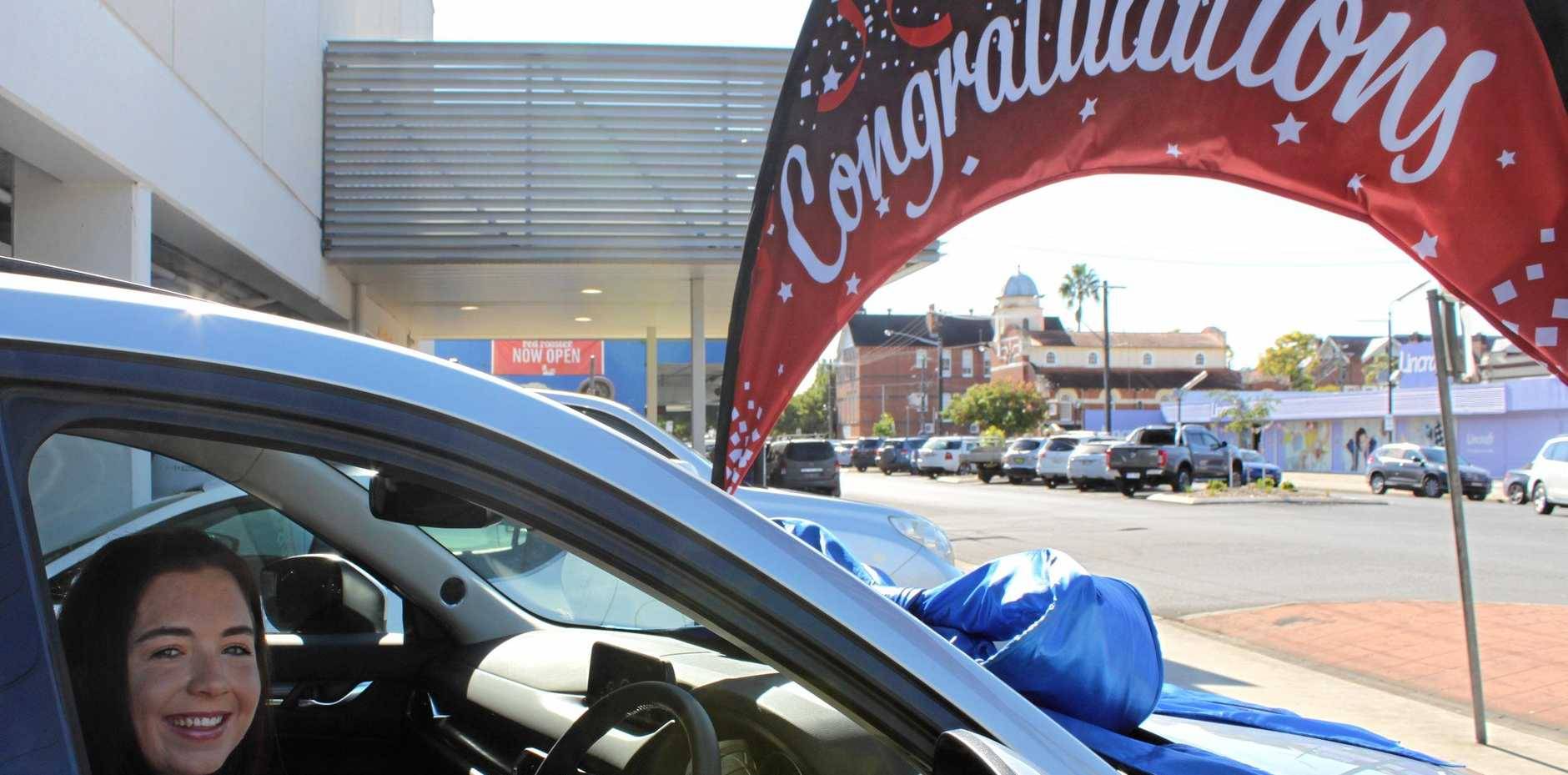 Emily McNamara won a Mazda CX-5 through the Children's Hospital Foundation summer raffle at Lismore Square.
