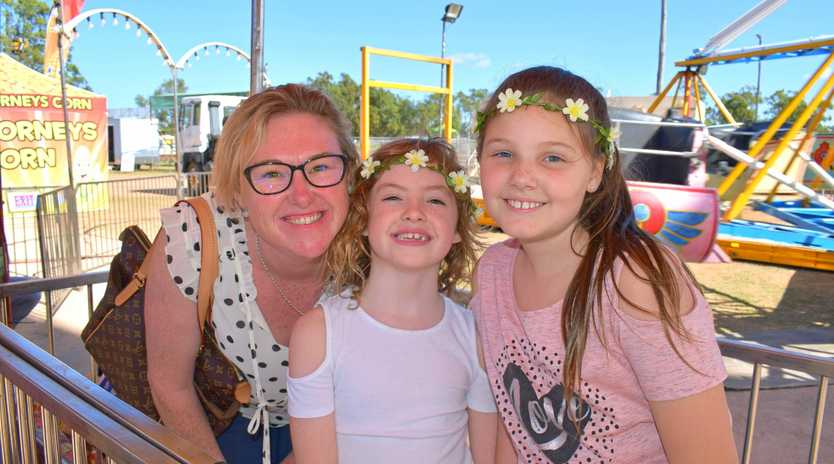 SHOW TIME: Alison and Amelia Rigg with Sophia Goodall at the 2018 Chinchilla Show.
