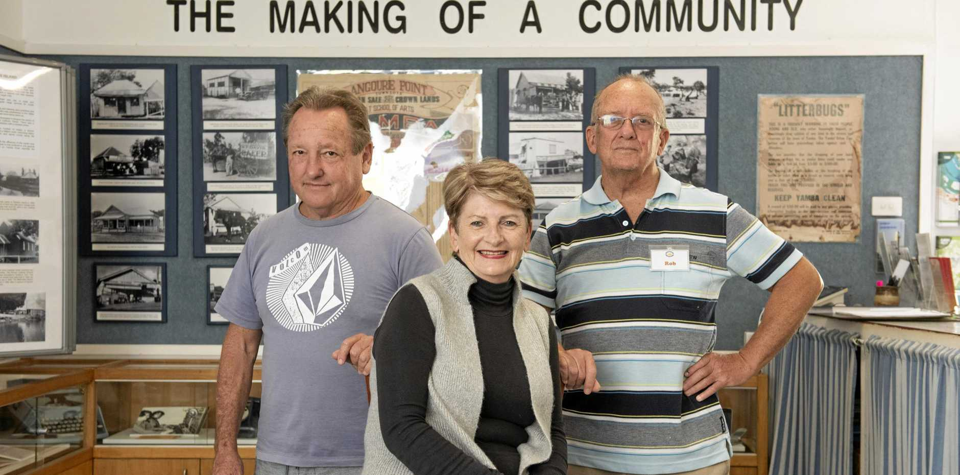 HELPING CULTURE: Port of Yamba Historical Society president Marea Buist, with  fellow vounteers Mark Maunsell and Rob Mylchreest.
