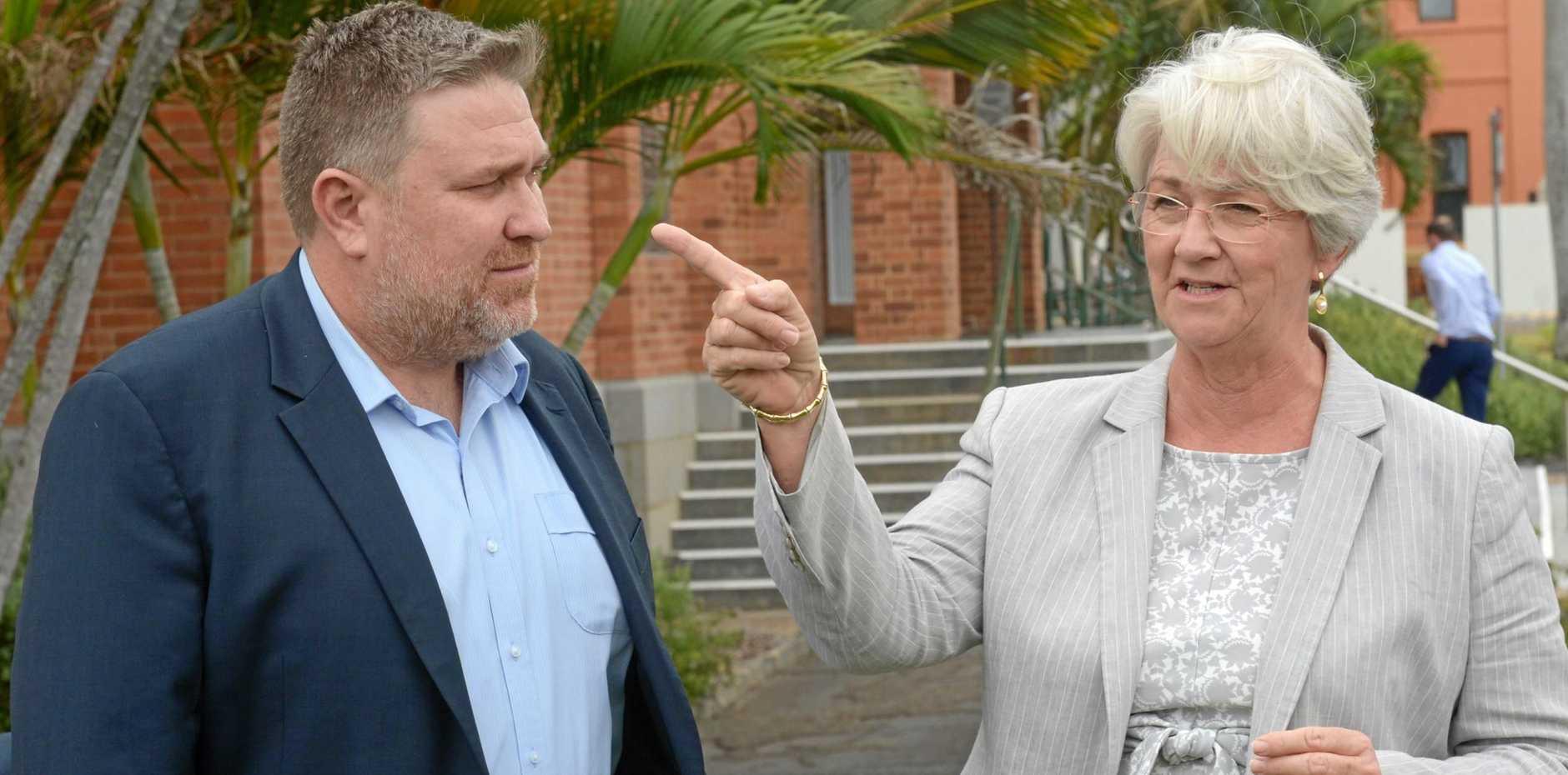 Adani Mining chief executive Lucas Dow and Rockhampton region mayor Margaret Strelow