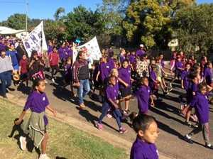Students and community join the march against DV