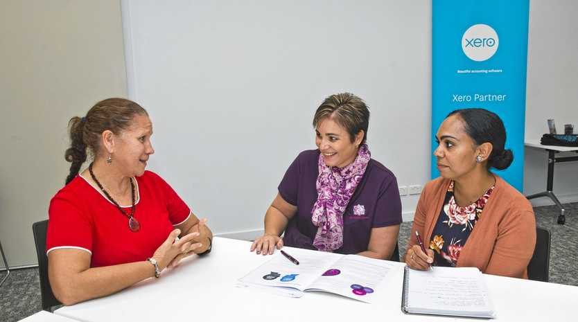BUSINESS SEMINAR: Networking at the Morning Sky Project are (from left) Carol Vale from Tiddas in Business, Rebecca Balfour from REM Business Solutions and Nyssa Blades from Burunda Creations. It was a networking and professional development seminar for indigenous women in business.