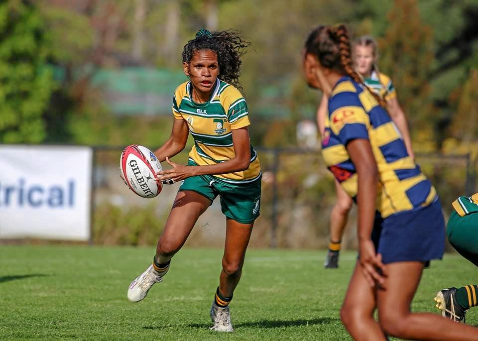 Darling Downs under-17s rugby sevens player Tshinta Kendall in action.