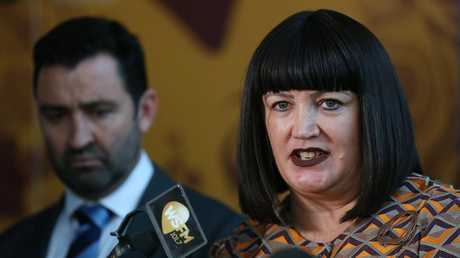 Rugby Australia chief executive Raelene Castle addresses the media on the Folau situation. Picture:  Don Arnold/Getty Images
