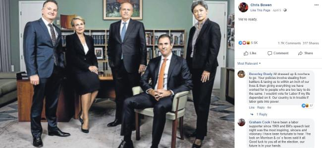 Chris Bowen, Tanya Plibersek, Bill Shorten, Jim Chalmers and Penny Wong in Mr Shorten's office.