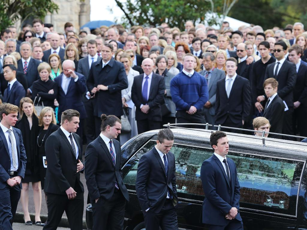 Mrs Kelly still feels guilt that she failed to save her second son. Pictured, his funeral in Parramatta in 2016. Picture: Craig Greenhill