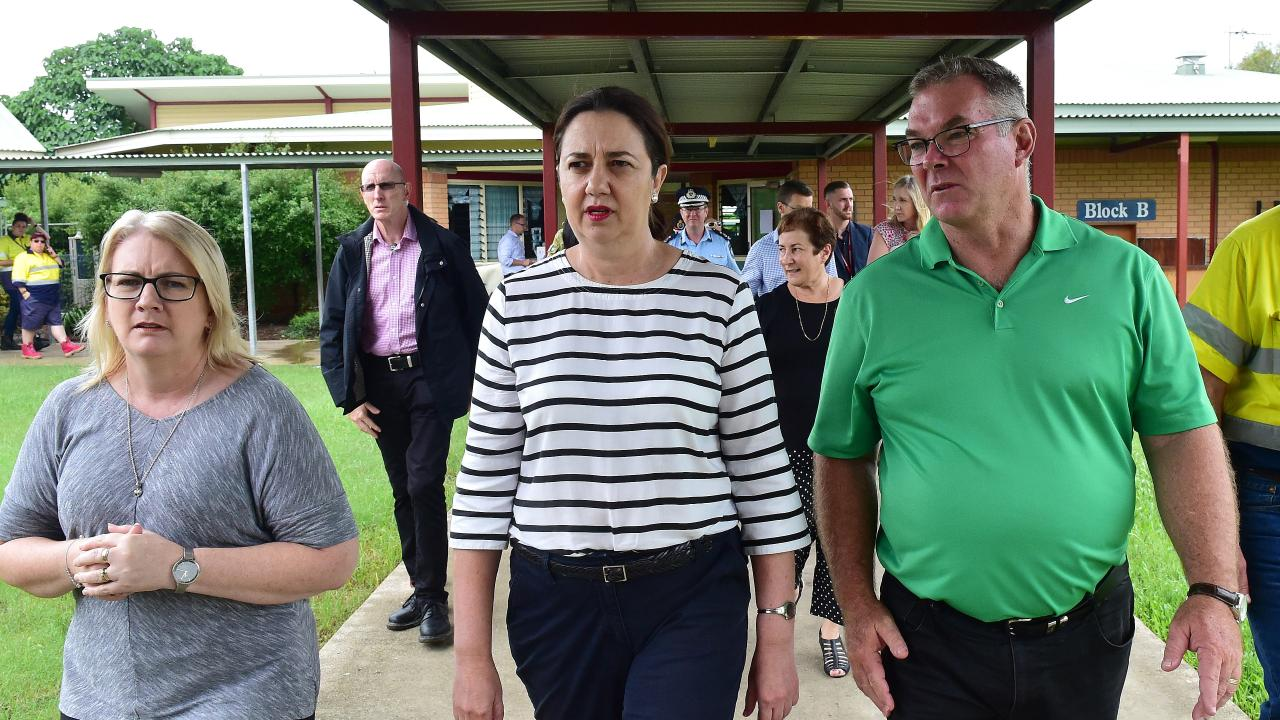 Mundingburra MP Coralee O'Rourke, Premier Annastacia Palaszczuk and Townsville MP Scott Stewart at flood affected Oonoonba State School Picture: Shae Beplate.