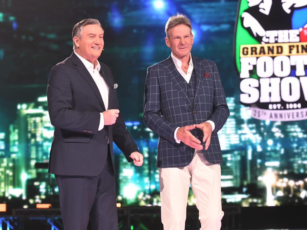 Eddie McGuire and Sam Newman hold court at the 2018 Grand Final Footy Show. Picture: Channel 9