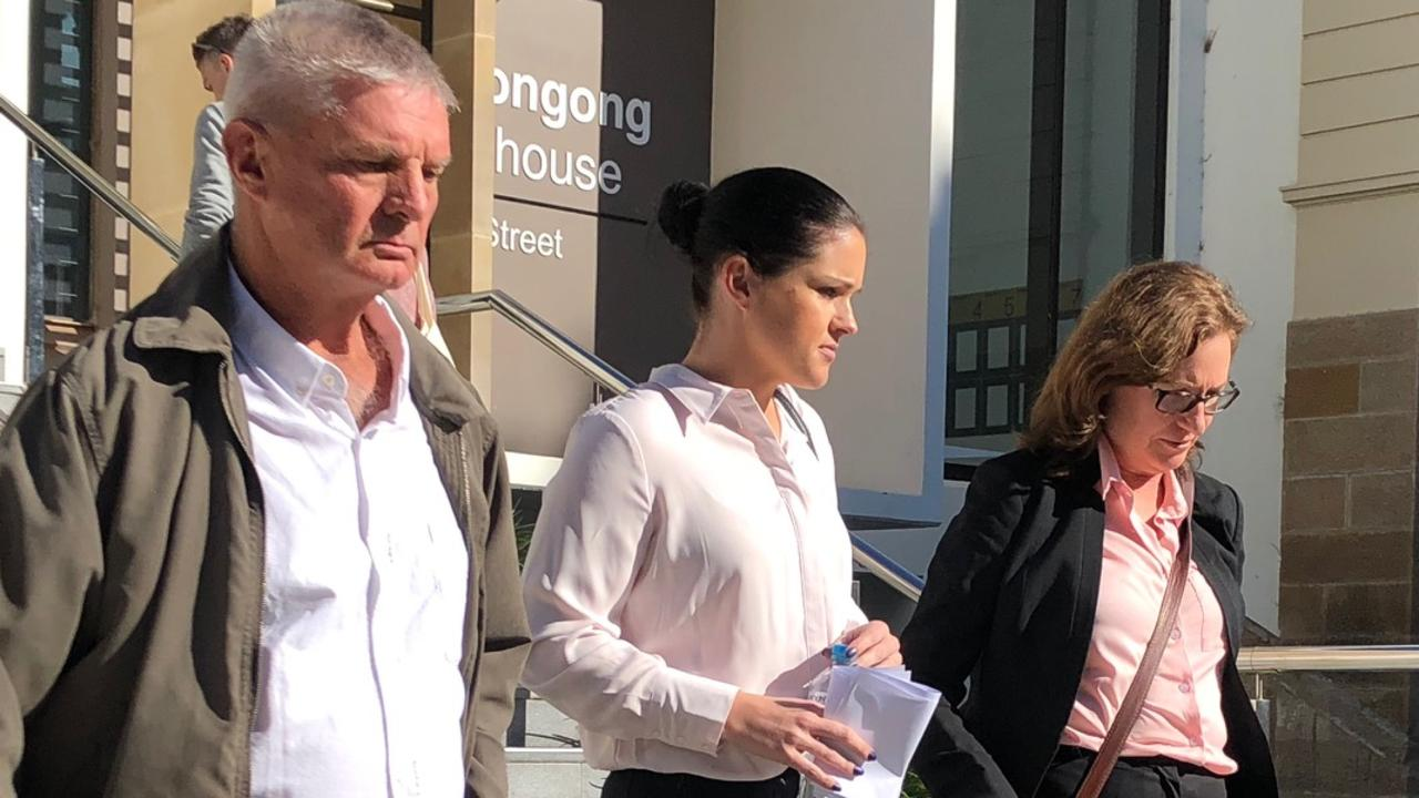 Deanna Struber (centre) with her father (left) and defence lawyer Cate Doosey (right).