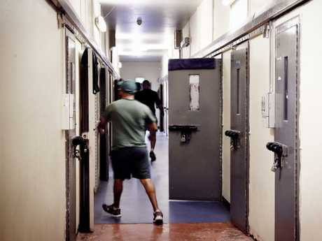 Offenders in their prison green uniforms inside Goulburn maximum security jail complex in the NSW Southern Highlands. Picture: Sam Ruttyn