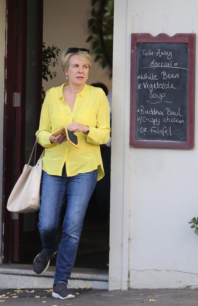 Tanya Plibersek leaves a Surry Hills cafe after having lunch on Wednesday. Picture: John Grainger