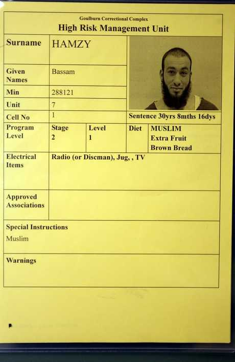 Namecard on cell for one of Supermax's inmates, Bassam Hamzy, who is serving more than 30 years.