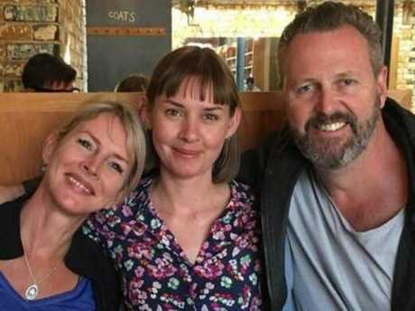 Sara Zelenak's parents Julie and Mark Wallace with Candice Hedge, who survived the attack. Picture: Supplied