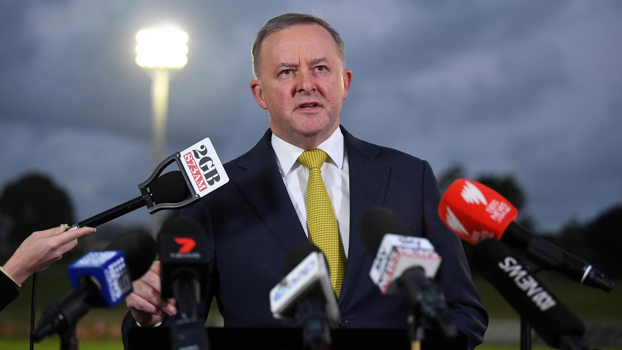 Anthony Albanese speaks to media at Henson Park in Marrickville, in his seat of Grayndler in Sydney on Wednesday. Picture: AAP/Joel Carrett