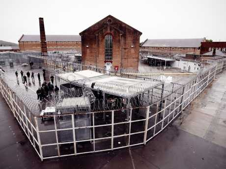 The 'Aussie/Asian yard' at Goulburn main prison viewed from the catwalk above. Picture: Sam Ruttyn