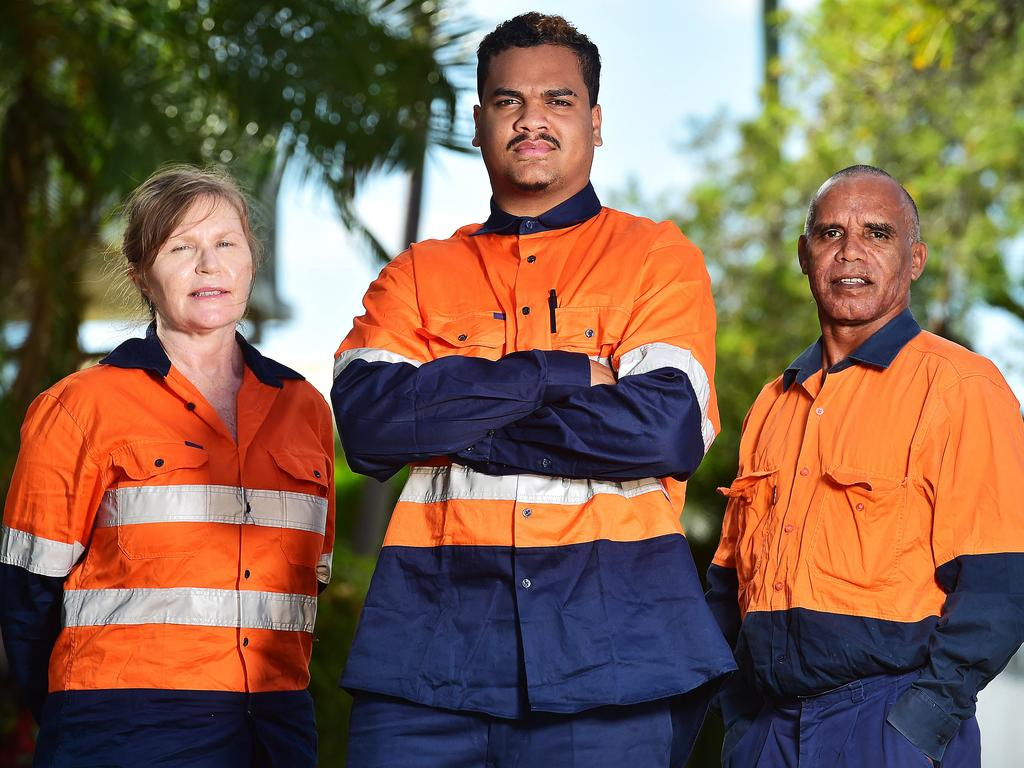 Jangga Step by Step program students Cheryl Rabig, Trakium Prior-Barry and Cedric Nogar are being trained for potential work on the Adani project. Picture: Shae Beplate