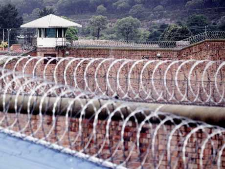Razor wire above a yard at Goulburn prison complex which houses Supermax. Picture: Sam Ruttyn