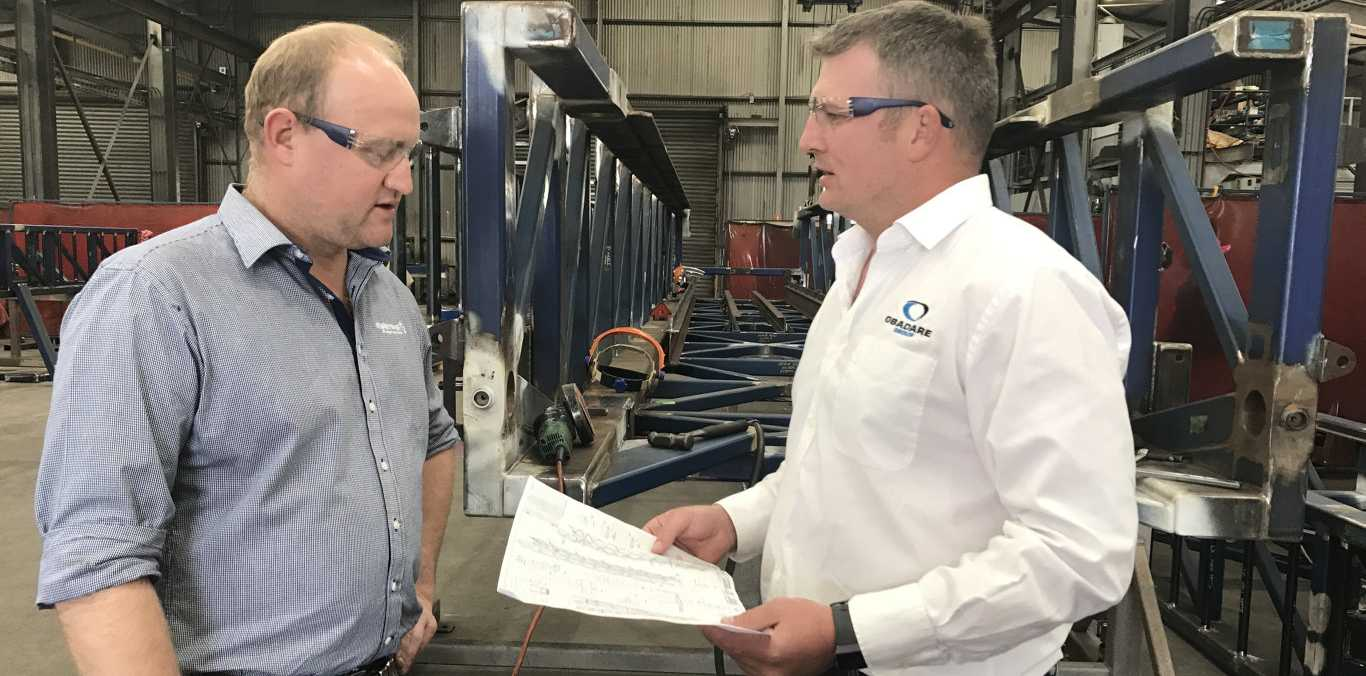 Local suppliers benefit from rig build project. Easternwell's Gareth Ross Ewith Obadare Group's Matt Warner.