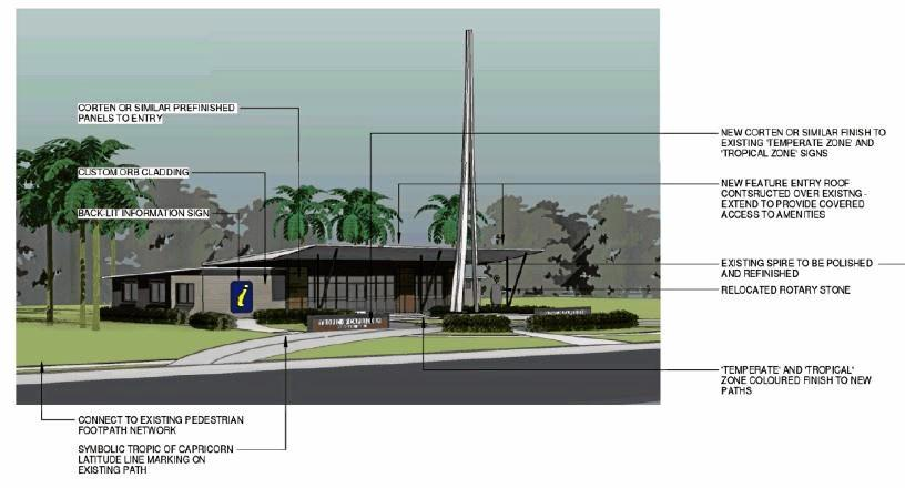 Design plans for renovations to Gladstone Road's Spire tourism information centre.