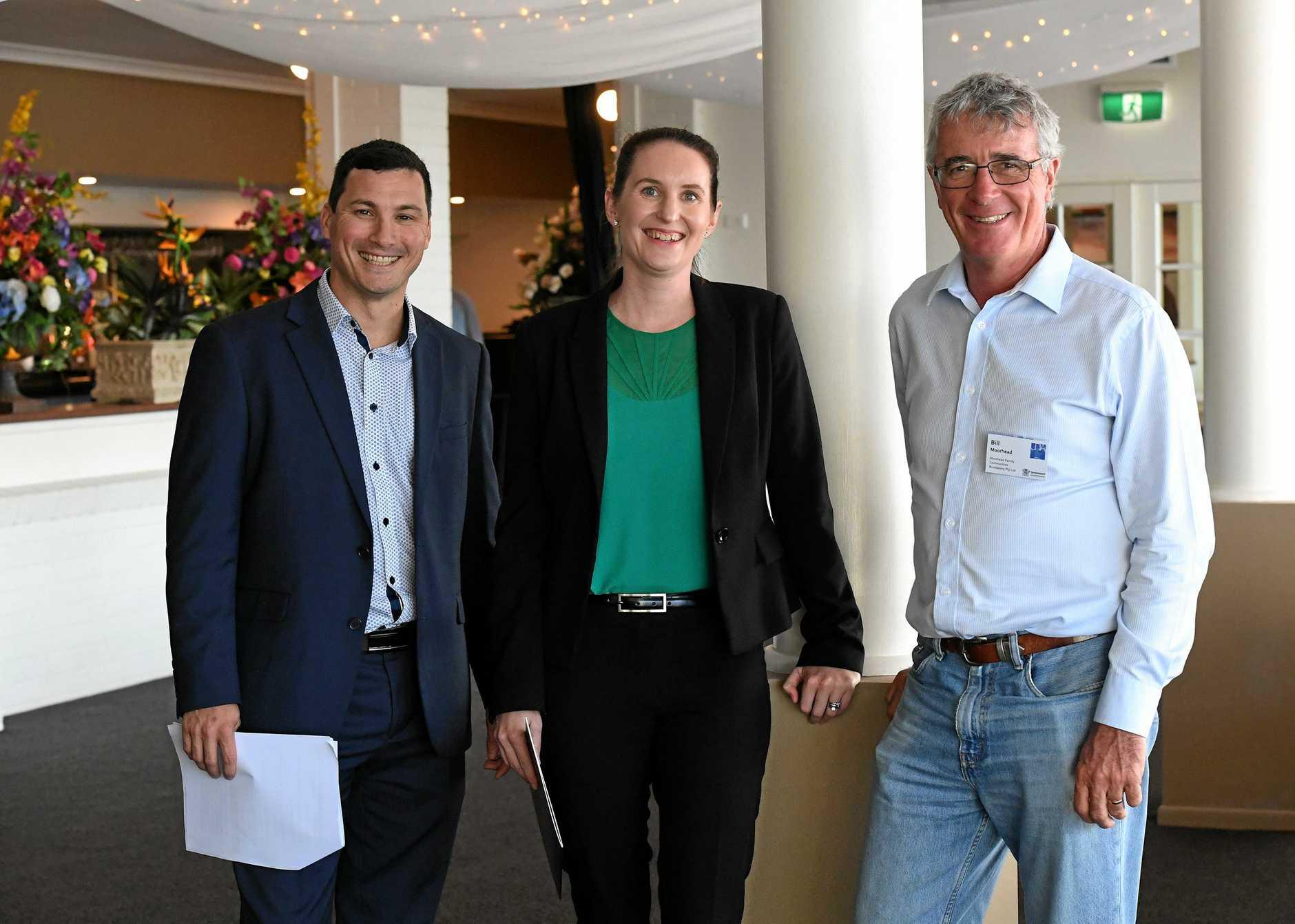 NEW BLOOD ON BOARD: Nathan Freeman, Kirsty Chessher-Brown and former UDIA Bundaberg Branch president Bill Moorhead.