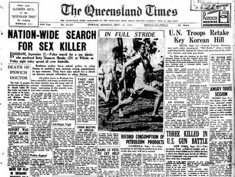 How the QT reported in its page 1 lead the nationwide hunt for the killer of Betty Shanks. Photo Contributed