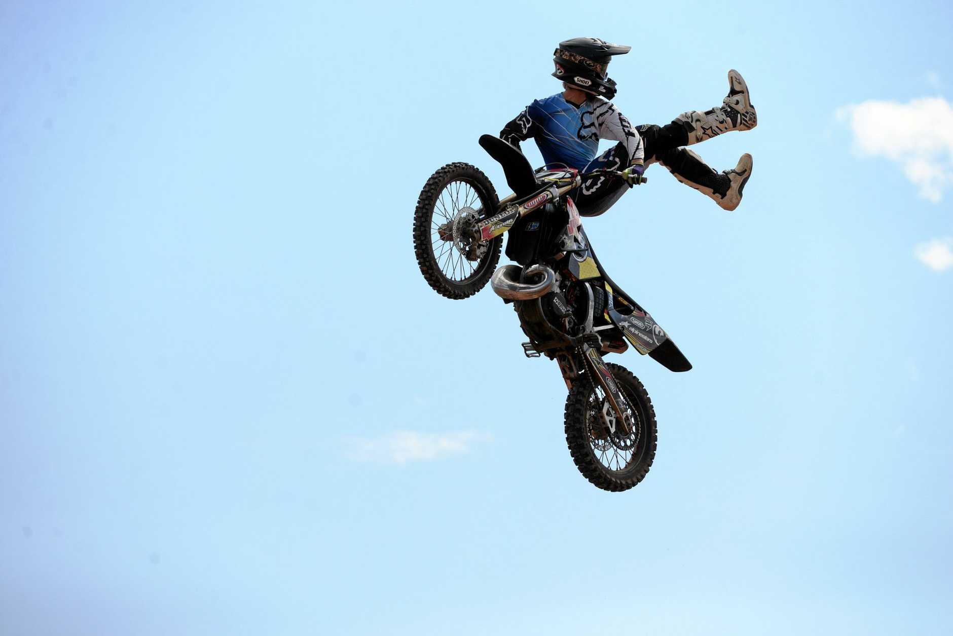 SKILLS: Tim Egan negotiates a jump at the Carina Speedway, Bundaberg. He will perform motocross stunts on Saturday and Sunday at the Gladstone Region 1770 Festival.