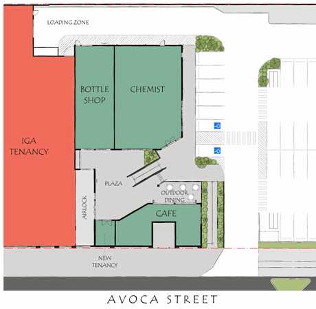 The floor plan for the Kingaroy IGA expansion shows where the new chemist, bottle shop and cafe will be found.