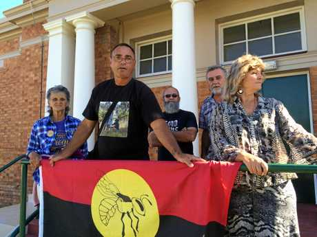 LAND RIGHTS CHARGE: Gympie region Aboriginal land rights campaigner Wit-boooka (Gary Tomlinson, second from left) with supporters Sunrise Blossom (Dawn Tomlinson, left), Merv Tomlinson and Dawn Johnson outside Gympie District Court earlier.