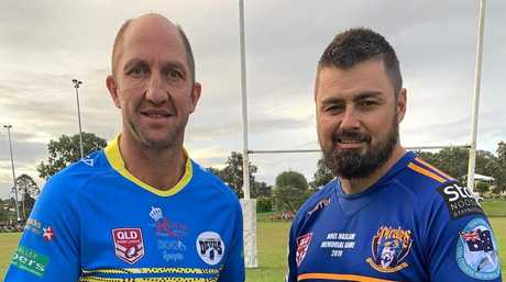 Darren Burns, of the Gympie Devils, and Anthony Zipf, of the Noosa Pirates, ahead of the memorial clash.