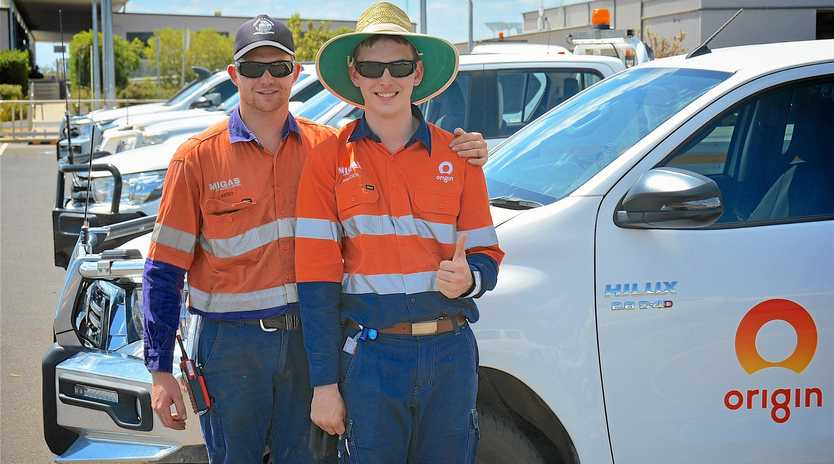 LIVING LOCAL: Origin apprentices Brad Gauld and Braden Ries are glad they get to live and work in their local community after securing a job at Origin's Surat Basin gas operations.