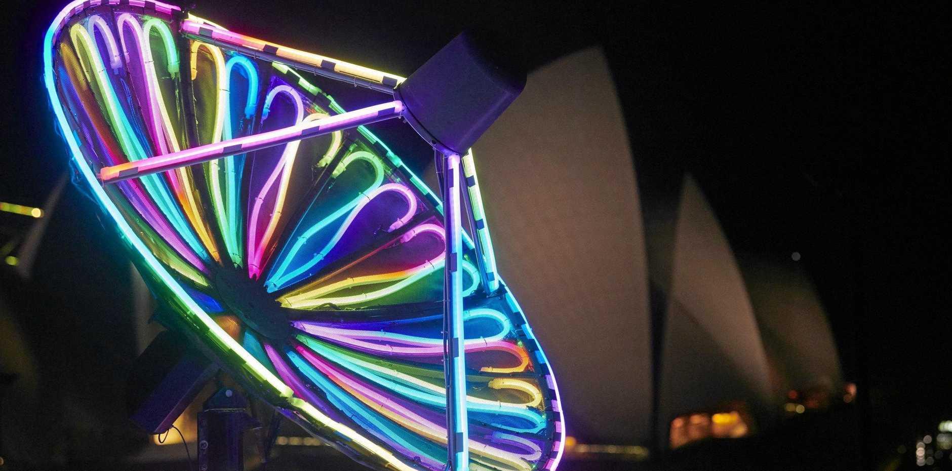 The KA3323 light installation at the Royal Botanic Garden precinct during Vivid Sydney 2019.